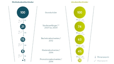 Grafik Vergleich Akademiker und Nicht-Akademiker-Kinder