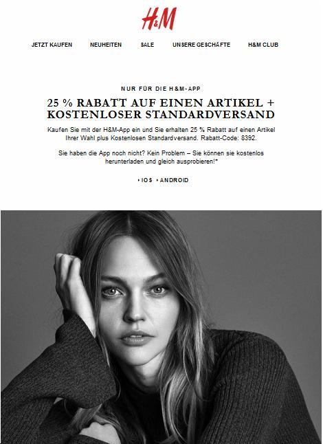 GUTSCHEIN H&M VERSANDKOSTENFREI OKTOBER 2019