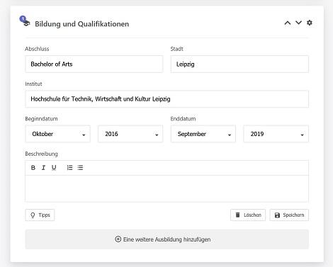 Lebenslauf online erstellen mit Lebenslauf.de
