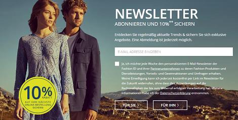 peek und cloppenburg newsletter rabatt