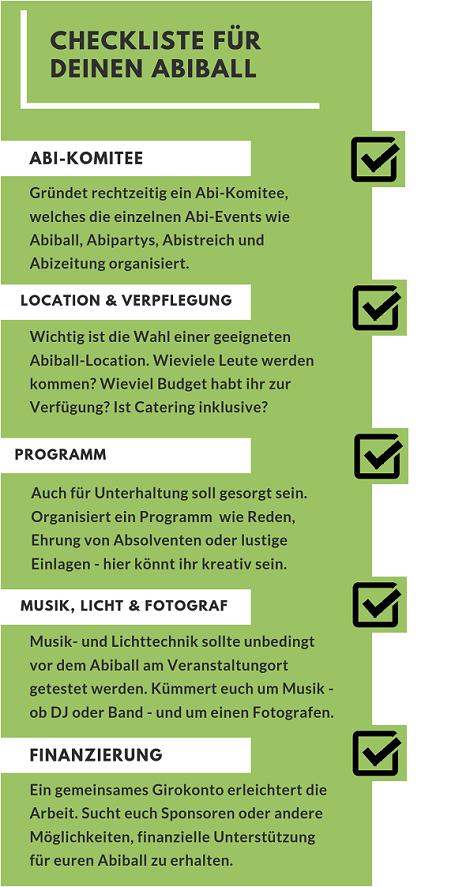 Checkliste Abiball
